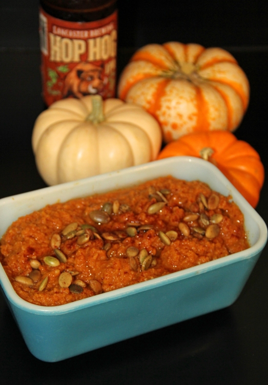 Spicy Pumpkin Hummus with Beer