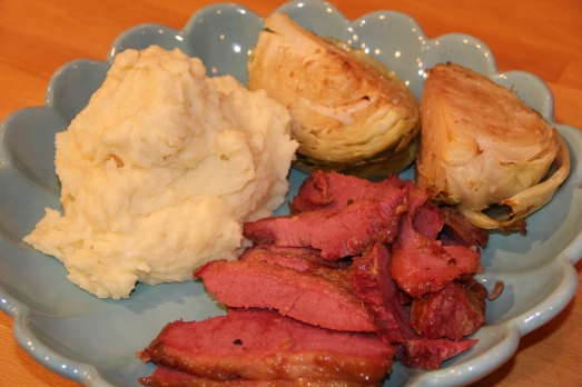 Best Corned Beef with Mustard and Brown Sugar Glaze aqnd Bailey's Mashed Potatoes