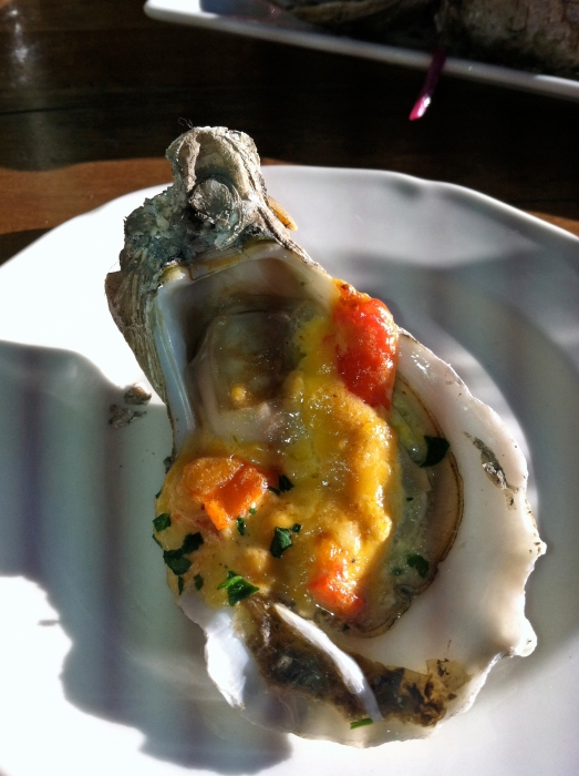 Broiled Oyster with Pimento Cheese