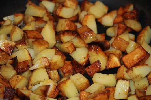 Fried Potatoes with Lemon, Red Pepper and Cilantro