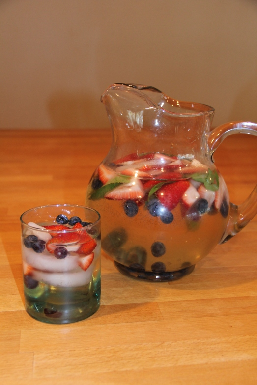 Red White and Blue: Berry Basil Sangria, perfect drink for the 4th of July