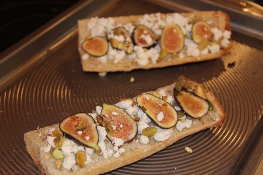 Fig, Pistachio, and Goat Cheese Toasts