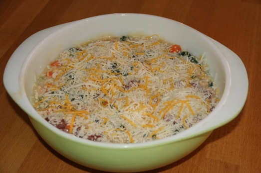 Cheesy Kale, Sausage and White Bean Casserole