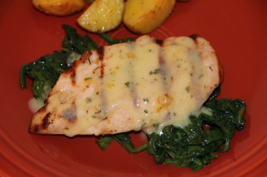 Chicken with Citrus Bernaise and Wilted Spinach