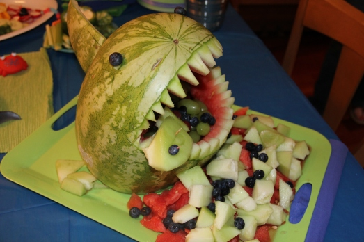 Pool Party 1st Birthday: Shark Bite Fruit Salad