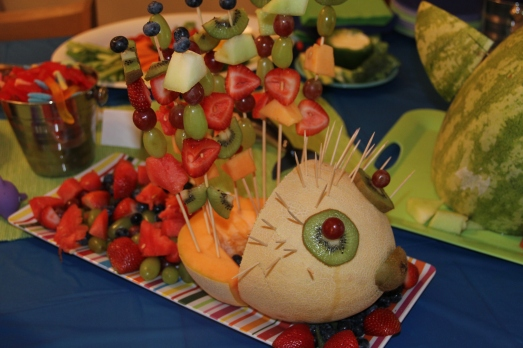 Pool Party 1st Birthday: Blow Fish Fruit Platter