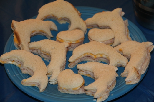 Pool Party 1st Birthday: Dolphin Finger Sandwiches