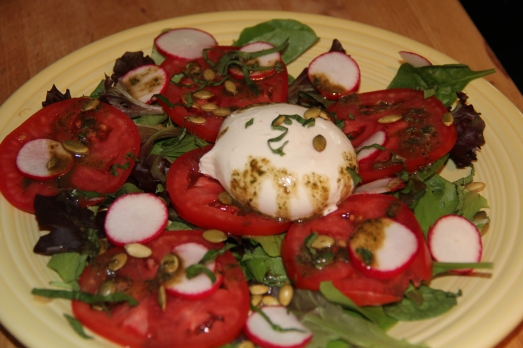Burrata Cheese Salad with Basil Honey Vinaigrette
