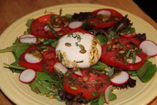 Burrata Cheese Salad with Basil Honey Vinaigrette