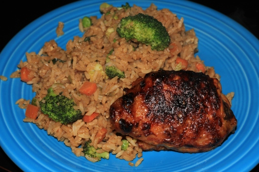 Orange Glazed Chicken and Vegetable Fried Rice