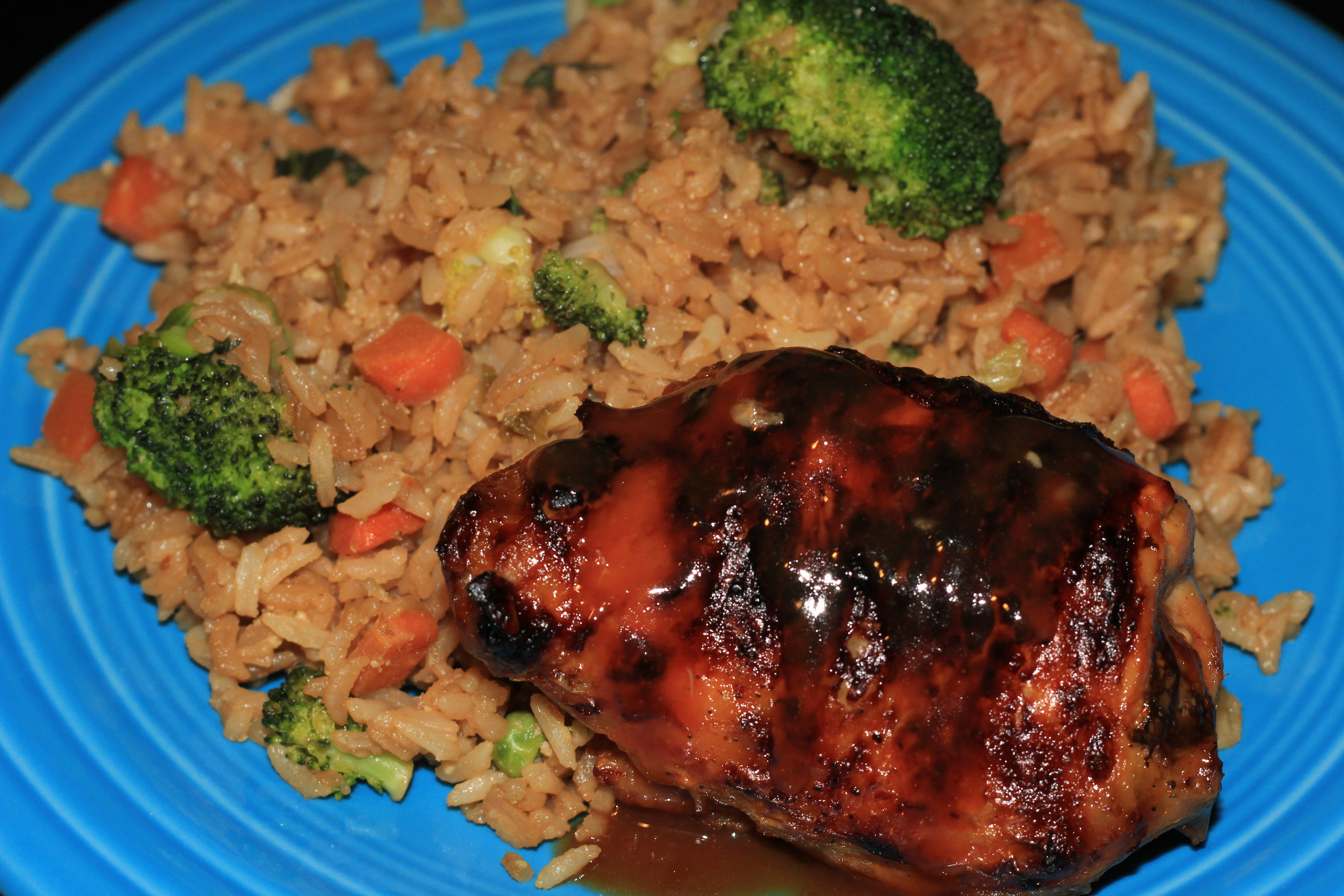 Orange Glazed Chicken and Vegetable Fried Rice