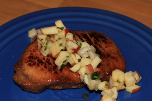 Root Beer Glazed Pork Chops with Fresh Apple Salsa